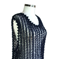 XXL  XXXL Plus Size  Beach Cover Up in Navy Blue  by ForYouDesign