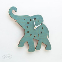 The Baby Turquoise / Teal Elephant designer wall mounted by LeLuni