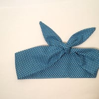 Dolly Headband, Tie-Up Hairband, Turquoise with Small White Polka Dots - READY TO SHIP!
