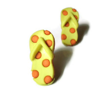 Flip Flop Earrings, Sandal Studs, Yellow, Orange Polka Dots, Shoe Jewelry, Summer Fashion, Beach Accessory, Beachwear, Hypoallergenic