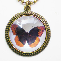 Diana Butterfly Necklace, Orange &amp; Brown by FantasticDIY
