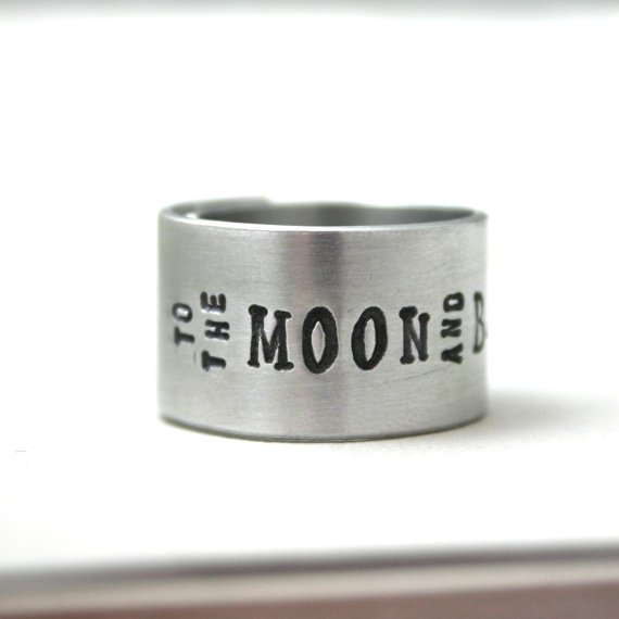 WIDE Silver hand stamped wrap ring To The Moon and by JustJaynes