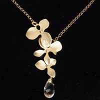 Grade AAA crystal Quartz drop orchid 14K gold by zhuzhudesign
