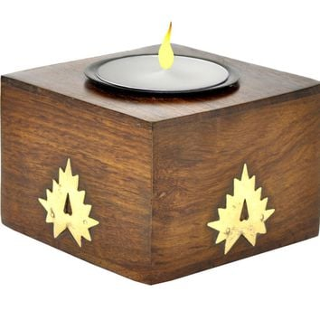 Handmade Wood Cube Tealight Candle Holder with an Interesting Abstract Bronze Overlay on all Four Sides in Indian Rosewood - Unique, Hand-Made Votives, Candle Stands, Tea Light Holders, Candle Decor Gifts and Accessories from SouvNear [Small Size - 3 x 3 x