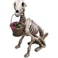 SKEL -E- DOG SKELETON GARDEN STATUE SCULPTURE