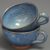 Set of 2 Soup Chowder Bowl Set Blue Pottery Stoneware Handles Mug Cup | TheMudPlace - Housewares on ArtFire