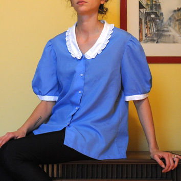 Carolina Blue Vintage Shirt Ruffled Collar Lightweight Fabric