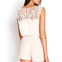 FOREVER 21 Embroidered Crochet Romper Taupe