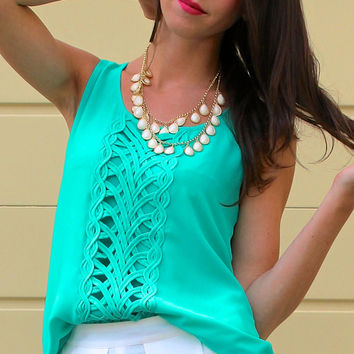 Crocheted Front Panel Sleeveless Blouse - Jade