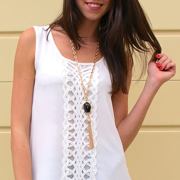 Crocheted Front Panel Sleeveless Blouse - White