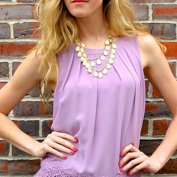 Crocheted Hem Sleeveless Blouse with Tie Back - Lavender