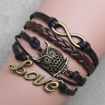 Infinity bracelet, love - owl bracelets, leather bracelets, personalized gifts, gift of friendship