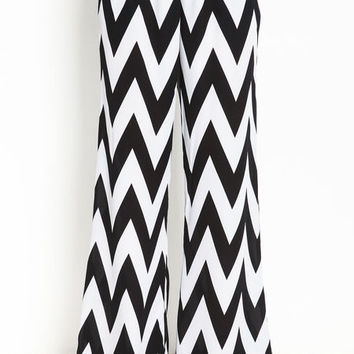 CHEVRON WIDE LEG PANTS