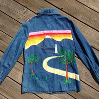 Vtg 1970s Embroidered Denim RAINBOW Sunset Waterfall Safari Jean Jacket Shirt