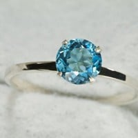 Swiss Blue Topaz Sterling Stacking Ring by janeysjewels on Etsy