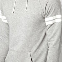 ASOS Hoodie With Drawstring Hem And Sleeve Stripe