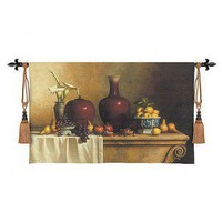 Fine Art Tapestries Oriental Still Life with Lillies Tapestry - Loren Speck - 2769-WH - All Wall Art - Wall Art & Coverings - Decor