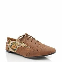 floral inset oxford flat