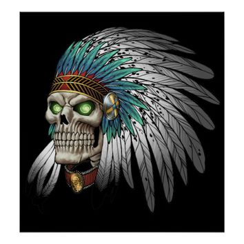 Native American Indian Tribal Gothic Skull