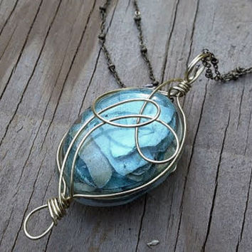 Light and Spotted Blue Pieces - Wire Wrapped Resin - Looped Wire Wrapped Necklace - Tear Drop Jewelry - Spring Time Attire - Golden Wire