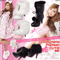 Wholesale Rabbit imitation high heel waterproof increased fashionable boots Z-LGN-C-6 pink - Lovely Fashion