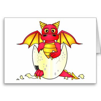Cute Dragon Baby in Cracked Egg - Red / Yellow