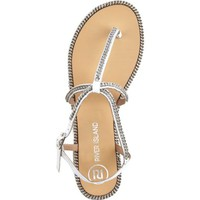 White chain embellished t bar sandals - flat sandals - shoes / boots - women