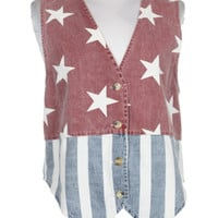 80s Blue, Red & White American Flag Denim Waistcoat | Waistcoats | Rokit Vintage Clothing