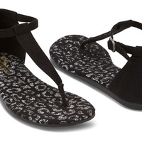 BLACK SNOW LEOPARD VEGAN WOMEN'S PLAYA SANDALS