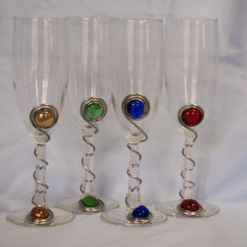 Set of 4 Glass Champagne Glasses Wrapped with Wire and Glass Beads