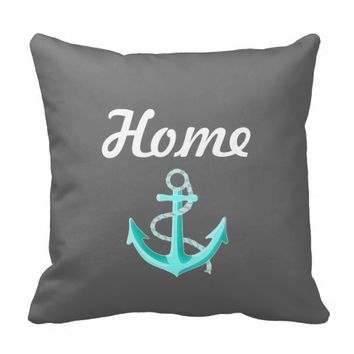 Mint Anchor - Home Grey Pillow