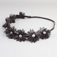 Full Tilt Chiffon Flower Headband Black One Size For Women 21998710001