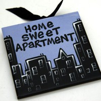 Home Sweet Apartment Hanging Tile Houseawarming Gift by LennyMud