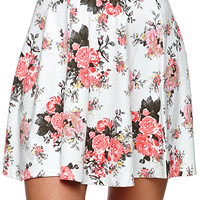 LA Hearts Floral Skater Skirt - Womens Skirt - Blue -