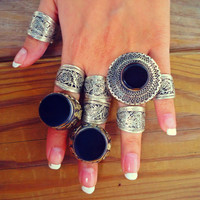FREE Shipping Unique Turkmenistan Handcrafted Silver Tribal Ring - Afghan Aqeeq Ring - Kuchi Jewelry- Bohemian Jewelry