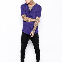 ASOS T-Shirt With Draped Cowl Neck - Purple