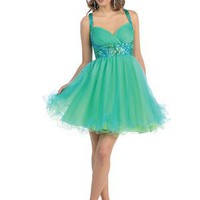 Knee Length Empire Waist Sequins Chiffon Prom Dress PD1835