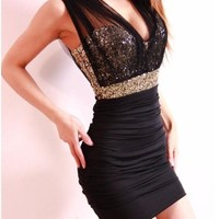 Ninimour- New Womens Sexy Sequin Empire Waist See-through Mesh Party Dress (Black, M)