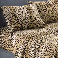 145 GSM Cozy Spun Brushed Cheetah Print Sheet Sets