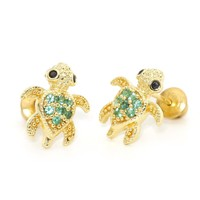 Brass Green Turtle Children Screwback Earrings with Sterling Silver Post for Baby, Toddler & Kids