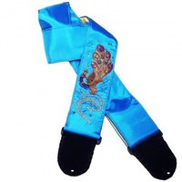 Turquoise India Peacock Guitar Strap Hand Embroidered Jeweled Applique | Coolstraps - Music/Instruments on ArtFire