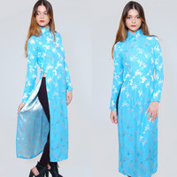Vintage 80s ASIAN Tunic Blue Silk Maxi Dress Cheongsam High Slit Ethnic FLORAL Maxi Dress XS
