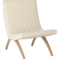 Danforth Seating Ivory Cream Quilted Leather Accent Chairs Arteriors Home Living Room Dining Room Office