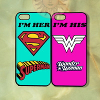 Superman and Wonderwoman Couple Cases iPhone 5, 5s, 5c, 4s, 4, ipod touch 4, 5, Samsung GS3 GS4-Silicone Rubber, Hard Plastic cover