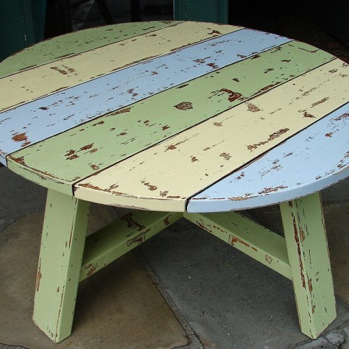 Shabby Chic Round Wood Coffee Table: Reclaimed Vintage Pine Shabby Chic From Artfire.com