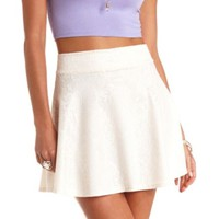 HIGH-WAISTED BONDED LACE SKATER SKIRT