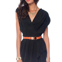 New Colors on the Block Belted Dress in Black :: tobi