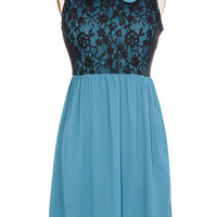 Teal and Lace Babydoll Dress