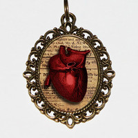 Anatomical Heart Necklace, Steampunk Jewelry,  Heart Jewelry, Gothic Pendant, Horror Necklace, Oval Pendant