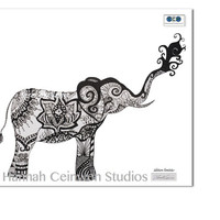 "Elephant Pen and Ink Print 8"" x 10"", Home Decor Artwork - Yoga Inspired Original Hand Drawn Art"